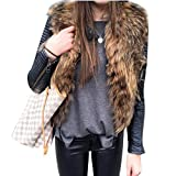 Gfone Frauen Winter Sleeveless Solide Kunstpelz Weste Outwear Westen