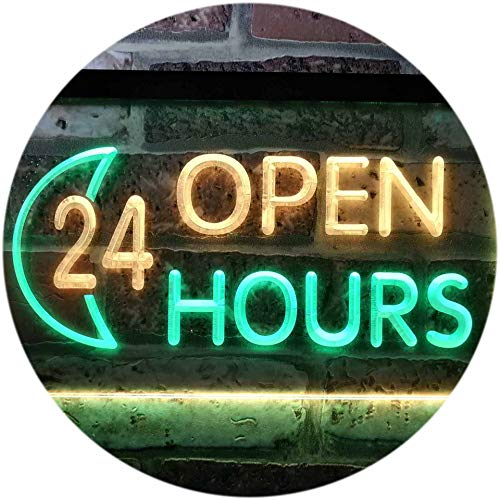 ADVPRO 24 Hours Open Moon Display Dual Color LED Barlicht Neonlicht Lichtwerbung Neon Sign Green & Yellow 400mm x 300mm st6s43-i0131-gy