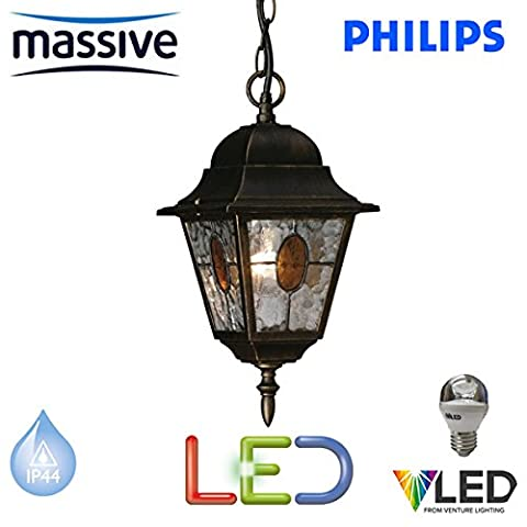 PHILIPS MASSIVE LIGHTING - MUNCHEN HANGING LED 5.9 WATT TRADITIONAL BLACK & BRUSHED GOLD EFFECT FINISH OUTSIDE LANTERN LIGHT - INCLUDES LED LIGHT BULB - DECORATIVE GLASS - STS