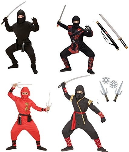 NINJA Fighter Kinder Jungen Kostüm Black Red Dragon Fire Dragon Samurai Ninjago, Ninja:Gold Ninja 128 - (128 cm / 5-7 Years)