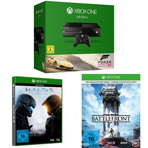 Xbox One 500GB Forza Horizon 2 + Halo 5: Guardians + Star Wars Battlefront - Day One Edition (Forza Horizon 5)