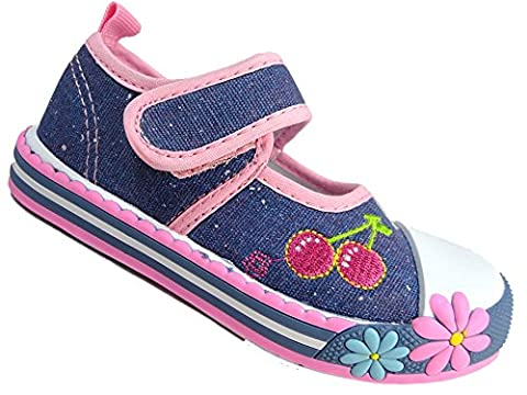 Girls Canvas Chatterbox Pump Infant Velcro Trainers Shoes Mary Jane Low Top (Uk 7 Eur 24, Denim/Purple Cherry)