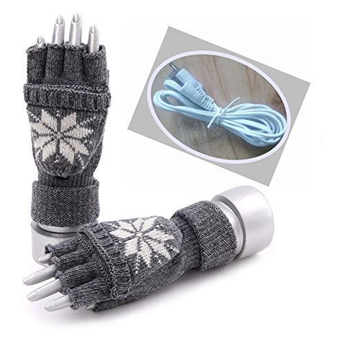 CAISYE Laptop Handschuhe, USB Warming Gloves Heizung Unisex Handschuhe, Handwärmer Gadget - Winter Schutzausrüstung Stricken Warmer Waschbares Design,Grau