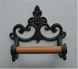 toilettenpapierhalter wc rollenhalter klorollenhalter gusseisen holz k che. Black Bedroom Furniture Sets. Home Design Ideas