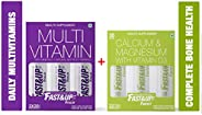 Fast&Up Vitalize Multivitamins and Fortify Bone Health Supplements Combo Box (1 box Vitalize-60 effervesce