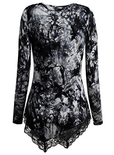 DJT Femme T-shirt longue Ourlet Dentelle Ametrique Tunique Manches longues Noir-Gris