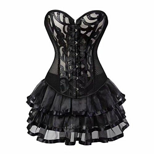 Bustino Pizzo Prospettiva Corsetto con Gonna Tutu Gotico Vittoriano Elegante Costumi Sexy Halloween Nero M