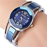 ele ELEOPTION Armband Design Quarz Uhr mit Strass Dial-Edelstahl-Band für Frauen Mädchen (Tiefblau)