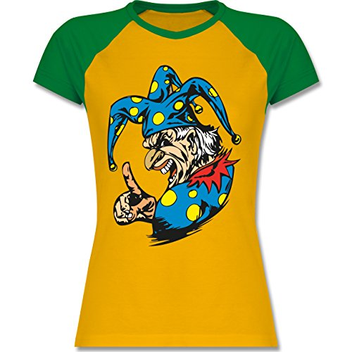 Karneval & Fasching - Clown - Grimasse - zweifarbiges Baseballshirt /  Raglan T-Shirt für