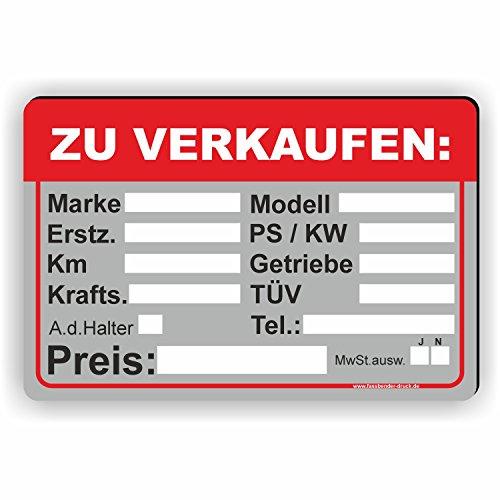AUTO ZU VERKAUFEN - Verkaufsschild - SCHILD / D-033 (30x20cm Schild)