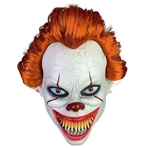 Clown Kostüm Beängstigend - FANGDA Halloween Maske, Horror Clown Maske, Halloween Kostüm Zubehör gruselig beängstigend Dekoration Requisiten,A