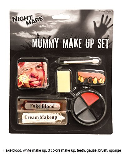 umie Vampir Schminke Make Up Set Dracula Zombie Schminke mit Zähne Halloween Karneval (Mumie Make Up Halloween Kostüm)