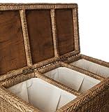URBANARA Wäschekorb Java - 100% Rattan, Wäschebox rechteckig mit Klappdeckel und drei Fächern - (78 x 40 x 68 cm, Dunkelbraun)