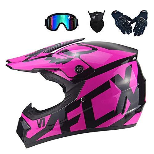 CHEN Q Frauen-Helm, Motocross-Helm mit Augenschutz Motocross Helmset Fullface Mountain Bike Helmet (Color : Pink, Size : M)
