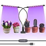 Neewer Lampe de Croissance - 12W Lampe 60 LED pour Plantes à Double Têtes Eclairage Spectre Rouge/Bleu pour Plantes d'Intérieur,3 Modes Eclairage 9 Niveaux Luminosité, Alimentation USB