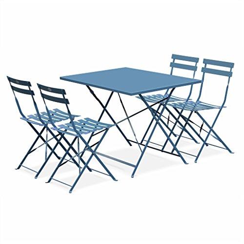 Alice's Garden - Salon de Jardin bistrot Pliable - Emilia rectangulaire Bleu grisé - Table 110x70cm avec Quatre chaises Pliantes, Acier thermolaqué