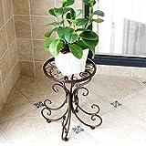 ZYN Europäische Pastoralen Schmiedeeisen Blumenregal Einzelne Etage Boden Balkon Indoor Einfache Pflanze Stehen (Farbe : Schokoladen-Farben, Größe : L24CM*W25CM*H34CM)