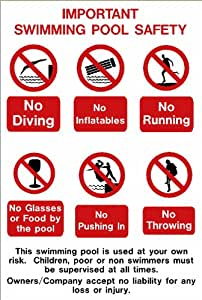 Swimming pool safety sign: IMPORTANT SWIMMING POOL SAFETY