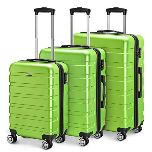 Amasava valigie rigide ABS+PC hard shell super leggero da viaggio Carry On trolley 8 ruote valigia,55cm/40L,65cm/65L,75cm/101L, Verde