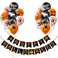 TUPARKA Happy Halloween Banner Set Pumpkin Wizards Ghost Sign with 18 Pcs Balloons for Halloween Party Bar Home Decor Supplies