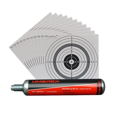 Umarex Co2 Kapsel 88g für Gotcha / Softair / Paintball + 10 ShoXx.® shoot-club Zielscheiben 14x14 cm mit zusätzlichen grauen Ring und 250 g/m²