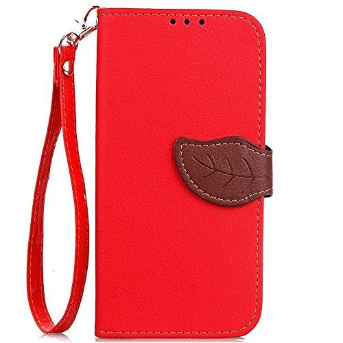Eaquro Wallet Cover iPhone 8 Custodia a portafoglio con Card Slot [chiusura magnetica] in pelle ultra-sottile con funzione di supporto,Cover Morbido Antipolvere Protezione per iPhone 8 - Nero Rosso