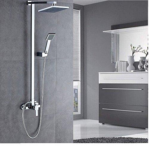 Auralum Thermostat Duschsystem Duschset Regendusche mit Überkopfbrause Handbrause und Wasserhahn Badarmatur für Badzimmer (Erste-klasse-wandhalterung)