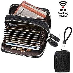 flintronic ® Tarjetero para Tarjetas de Crédito Cuero, RFID Bloqueo Carteras con 14 Ranuras para Tarjetas, Crédito Tarjetero con Cremallera, Negro