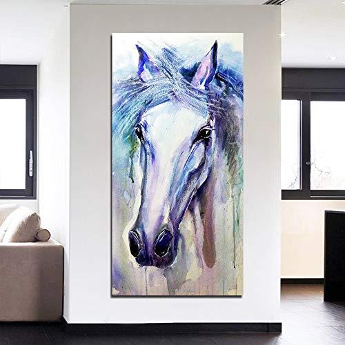 RTCKF HD Stampa Micro-Jet ad Alta Definizione Soggiorno murales Pittura Decorativa Acquerello Animale Cavallo Pittura Moderna Decorativa Senza Cornice A3 50cmx100cm
