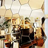 Wall1ders - Hexagon 10 Silver & 10 Golden (Each Hexagon Size 12 Cm X 10.5 Cm) Material 2 Mm Imported CAST Premium Quality 3D Acrylic Mirror Wall Stickers For Home & Office.