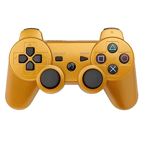PS3 Controller Wireless Bluetooth Six-Axis Dualshock Game Controller für Sony Playstation 3 PS3 (Gold)
