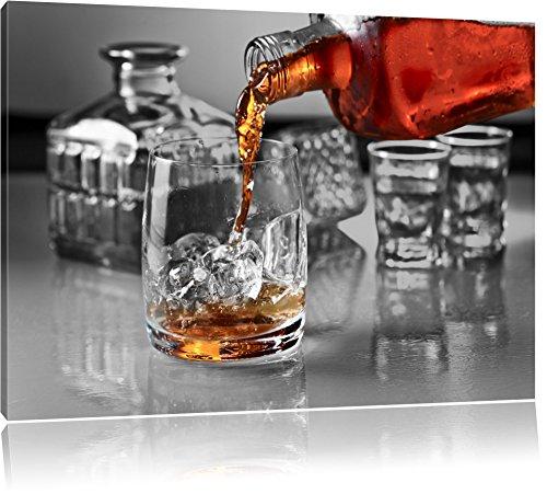 Whiskey im Whiskeyglas schwarz/weiß Format: 100x70 auf Leinwand, XXL riesige Bilder fertig gerahmt mit Keilrahmen, Kunstdruck auf Wandbild mit Rahmen, günstiger als Gemälde oder Ölbild, kein Poster oder Plakat