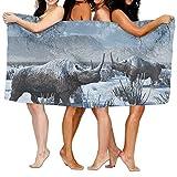eruerueruruer Women's Cottton A Pair of Woolly Rhinoceros in Snow Winter Bath Shower Wrap Towels...
