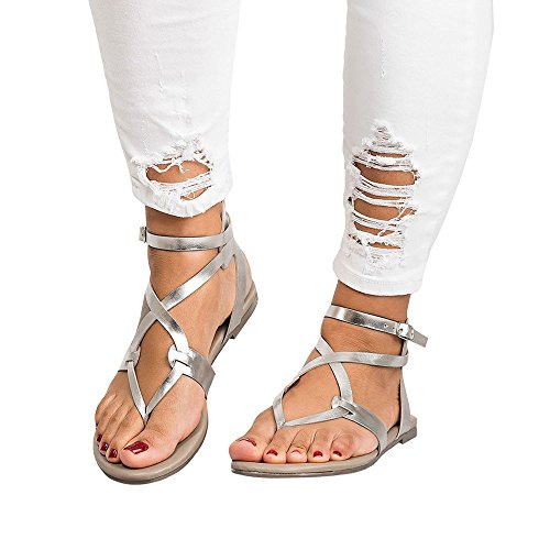 Cooljun Womens Damen Flip Flops flache Keil Espadrille Rom binden Sandalen Sommerschuhe Plattform Römersandalen Flache Heel Sandaletten (39, Silber)