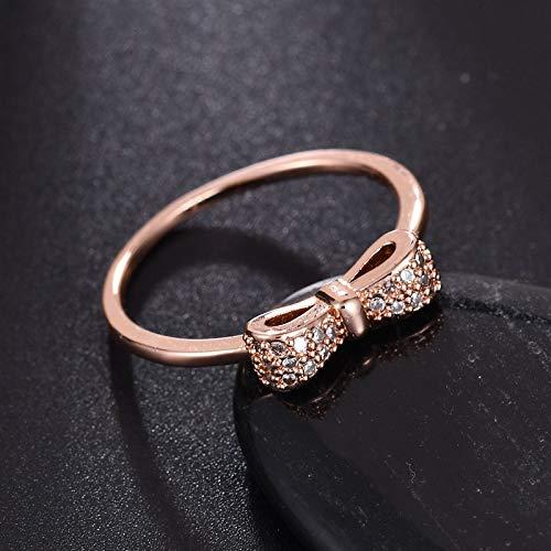 BURFLY Mode Damen Bogen Ring Micro-Set Zirkon Ring Gold Silber Größe 6-8 Elegant Lady Ring Schmuck 2020 Fashion Neue Einfarbig Gift Valentinstag Wife Girlfriend Gift