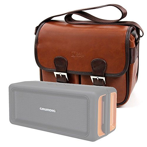 DURAGADGET Bolsa profesional marrón con compartimentos para Altavoces Grundig GSB 120 , GSB 150 / Urban Outfitters Happy Plugs Mini Sound Piece