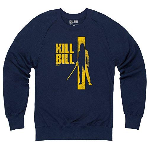 Official Kill Bill Vol 1 Distressed Yellow Logo Felpa girocollo, Uomo, Blu navy, M