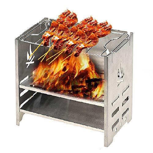 Lixada Edelstahl Kohlegrill Camping Grill Tragbar Falten Picknick BBQ