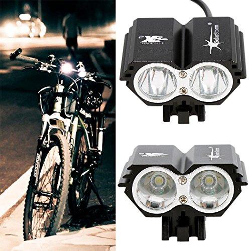 Coorun 5000Lm 2x CREE XM-L U2 LED Fahrradbeleuchtung Set 4 Modi Fahrradlampen, inkl. Front- und Rücklicht, Wasserdicht- und Stoßfest, Energiesparend