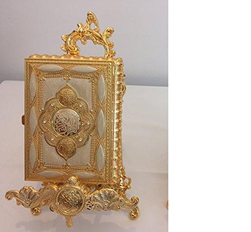 Goldfarbene Koran-Box mit Aufsteller, tolles Geschenk zur Hochzeit, Dekoration (Koran-Buch nicht im Lieferumfang enthalten)