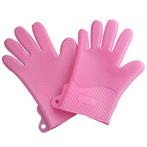 Dtuta Silikonisolierte Handschuhe, Rutschfest, Wasserdicht, SpüLmittel, ReinigungsbüRste, Tierhaare, Wiederverwendbar