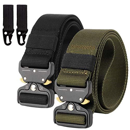 2er Unisex Gürtel Nylon Canvas Belt, Schnellverschluss Military Style Shooters Nylon Gürtel mit Metallschnalle, Armee-Grün + Schwarz, Einheitsgröße -