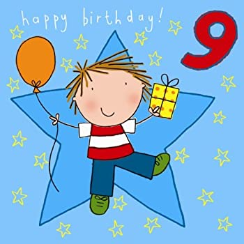 Twizler 9th Birthday Card For Boy With Present Balloon And Swarovski Crystal Finish