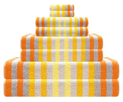 Lashuma Handtücher Set Gestreift Gelb, 2X Waschtuch 15x21, 2X Gästetuch 30x50, 2X Handtuch 50x100, 2X Duschtuch 70x140