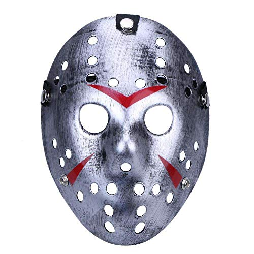 Boolavard Horror Mask Halloween-Kostüm Hockeymaske Party Cosplay Requisiten Maske (Silber)