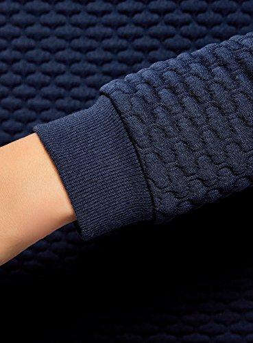 oodji Collection Femme Sweat en Tissu Texturé Bleu (7900N)