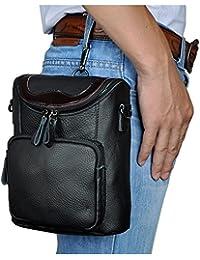 Le'Aokuu Mens Genuine Leather Coffee Fanny Small Messenger Shoulder Satchel Waist Bag Pack (The 611-74 Black)