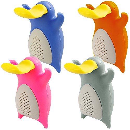 Boules à Thé pour Feuilles de Thé, FineGood Lot de 4 Ornithorynque Infuseurs Filtres en Silicone