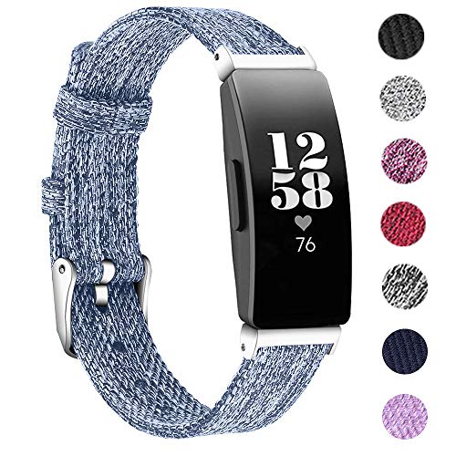 KIMILAR Armbänder Kompatibel mit Fitbit Inspire & Inspire HR Armband Stoff, Ersatzband Nylon Gewebte Band Uhrenarmband für Fitbit Inspire HR/Fitbit Inspire Fitness Tracker (S, Dunkelviolett)