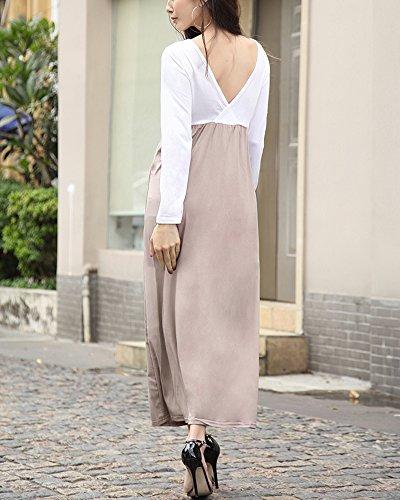 Femme Robe Beach Bohême Manches Longue Robes Couleur Pure Café